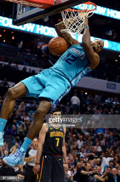 The Charlotte Hornets' Dwight Howard throws down a twohanded dunk against the Atlanta Hawks on October 20 at the Spectrum Center in Charlotte NC