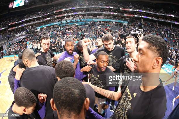 The Charlotte Hornets huddle up before the game against the Philadelphia 76ers on February 13 2017 at the Spectrum Center in Charlotte North Carolina...