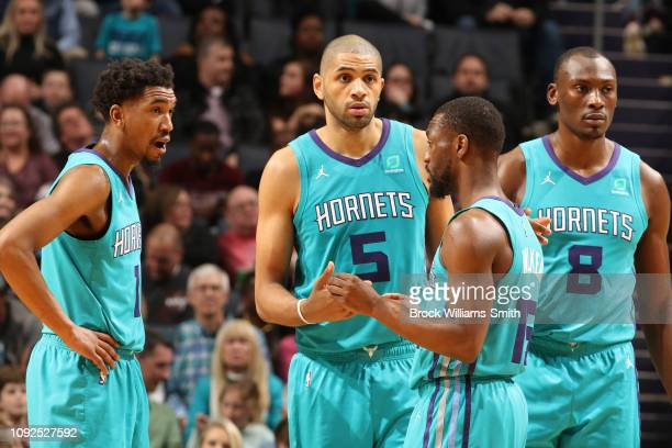 The Charlotte Hornets hustle up during the game against the Memphis Grizzlies on February 1 2019 at Spectrum Center in Charlotte North Carolina NOTE...