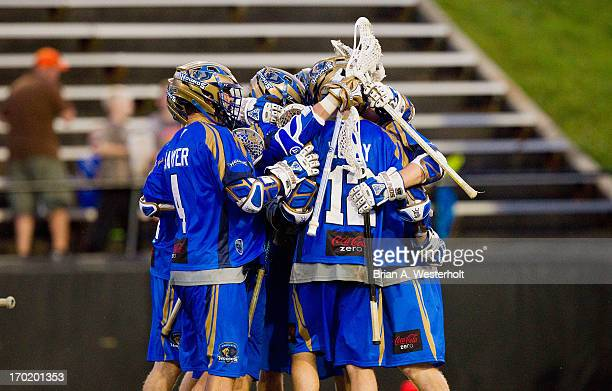 The Charlotte Hounds celebrate a goal during second half action against the Ohio Machine at American Legion Memorial Stadium on June 8 2013 in...