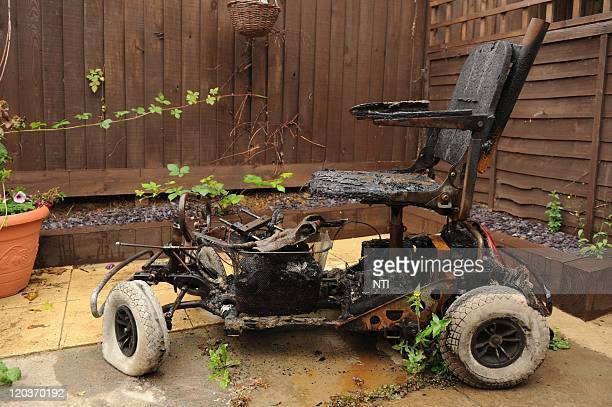 The charred remains of an electric mobility scooter owned by Aidan Cassidy which caught fire while he was on his way to a carboot sale August 4 2011...