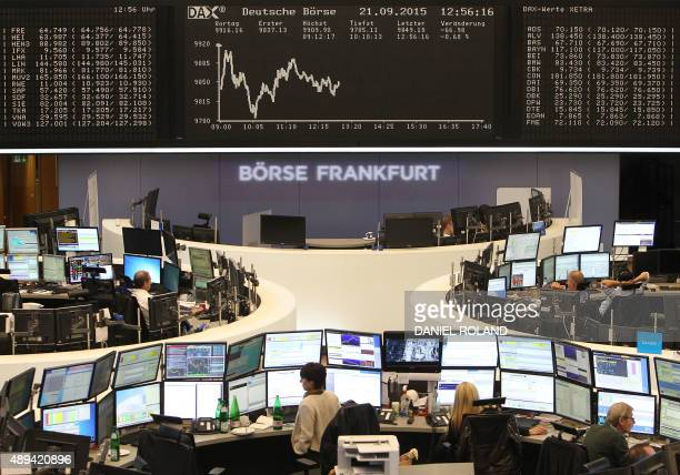 The chart of Germany's share index DAX is seen on September 21 2015 at the stock exchange in Frankfurt am Main western Germany Shares in German auto...