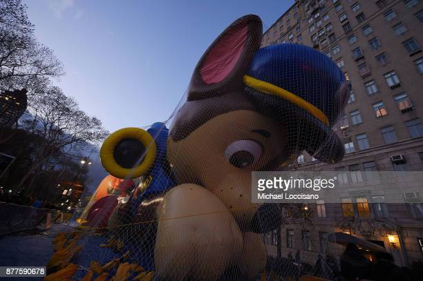 The Chase the Dog balloon is inflated to prepare for the 91st Annual Macy's Thanksgiving Day Parade on November 22 2017 in New York City