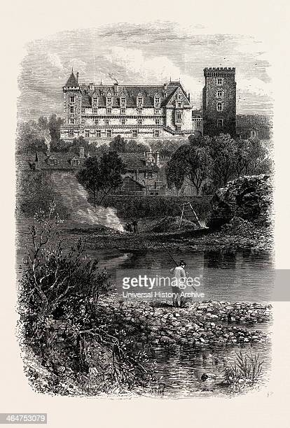The Chateau Of Pau, The Pyrenees, France, 19th Century Engraving.