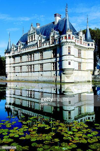 The Chateaux of the Loire Valley 'Chateau d'Azay le Rideau' castle dating back to the Renaissance in Touraine