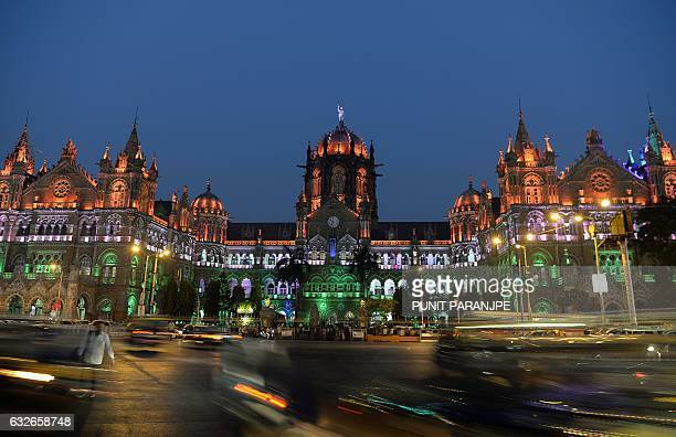 The Chattrapathi Shivaji Terminus railway station is lit up in the colours of India's national flag ahead of the country's Republic Day...