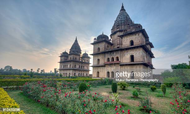 the chattris or cenotaphs in orchaa were built to honour the dead ancestors of the bundela rajas, orchha, madhya pradesh, india - madhya pradesh stock pictures, royalty-free photos & images