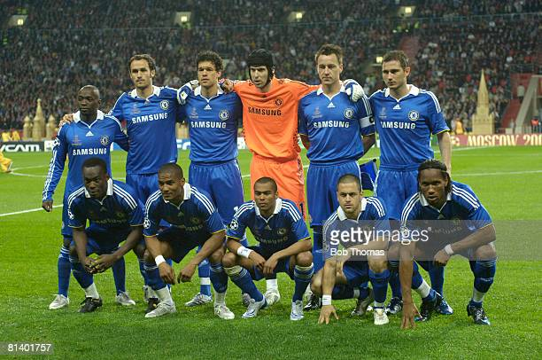 The Chealsea team group before the UEFA Champions League Final between Manchester United and Chelsea held at the Luzhniki Stadium Moscow Russia on...