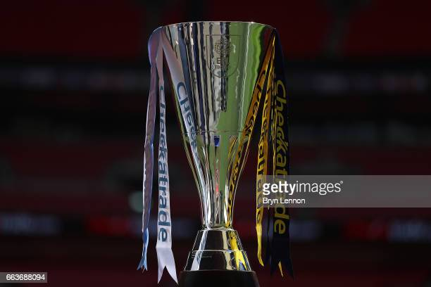 The Checkatrade trophy is seen prior to the EFL Checkatrade Trophy Final between Coventry City v Oxford United at Wembley Stadium on April 2 2017 in...