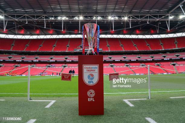 The Checkatrade trophy sits on the touchline before the Checkatrade Trophy Final between Sunderland AFC and Portsmouth FC at Wembley Stadium on March...
