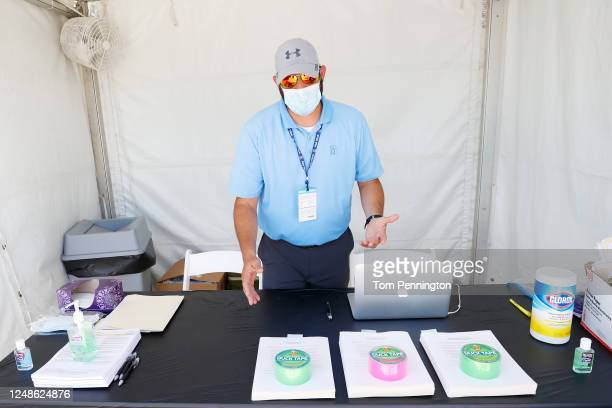 The check-in area of a mobile testing unit is seen prior to the Charles Schwab Challenge on June 09, 2020 in Fort Worth, Texas. The PGA Tour has...