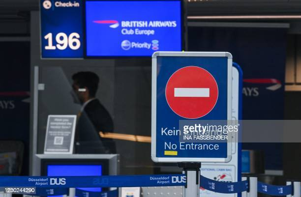 The check-in of British Airways is seen at Duesseldorf Airport in Duesseldorf, western Germany, on December 21 amid the ongoing novel coronavirus /...