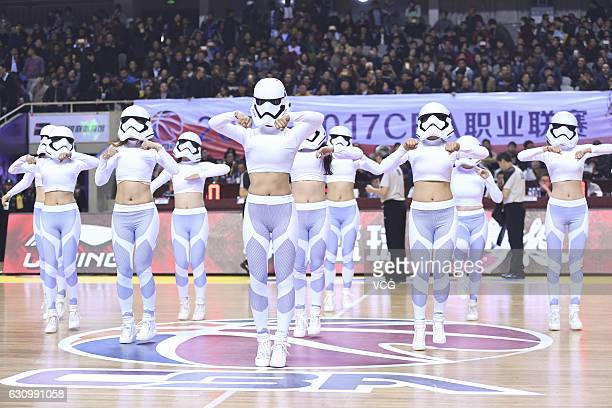 The cheering squad dressed as Star Wars' Stormtroopers perform in the game between Jiangsu Dragons and Xinjiang Flying Tigers during the 25th round...