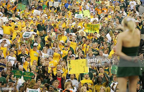 The cheerleaders fire up the crowd cheering for the Baylor Lady Bears in their win over the Louisiana State Lady Tigers in the Semifinal game of the...