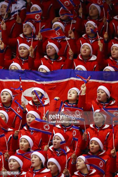 The Cheerleaders from The People's Republic of North Korea cheer on their athletes during the Men's Short Track Speed Skating 500m Heats on day...