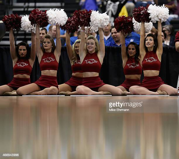 The cheerleaders of the Arkansas Razorbacks in action against the Wofford Terriers during the second round of the 2015 NCAA Men's Basketball...