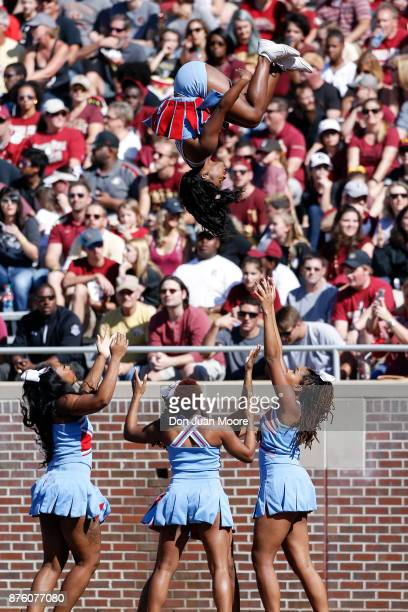 The Cheerleaders of the Delaware State Hornets performs on the sidelines during the game against the Florida State Seminoles at Doak Campbell Stadium...