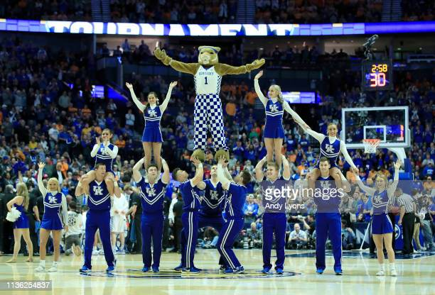 The cheerleaders of the Kentucky Wildcats perform in the game against the Tennessee Volunteers during the semifinals of the SEC Basketball Tournament...