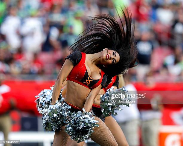 The Cheerleaders of the Tampa Bay Buccaneers performs during the game against the Seattle Seahawks at Raymond James Stadium on November 27 2016 in...