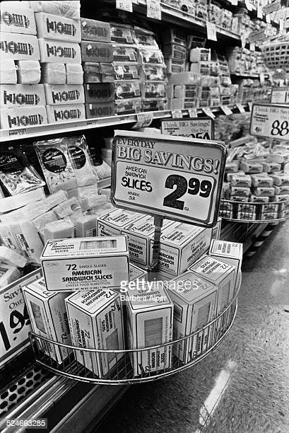 The cheese aisle inside a grocery store in Oregon USA August 1987