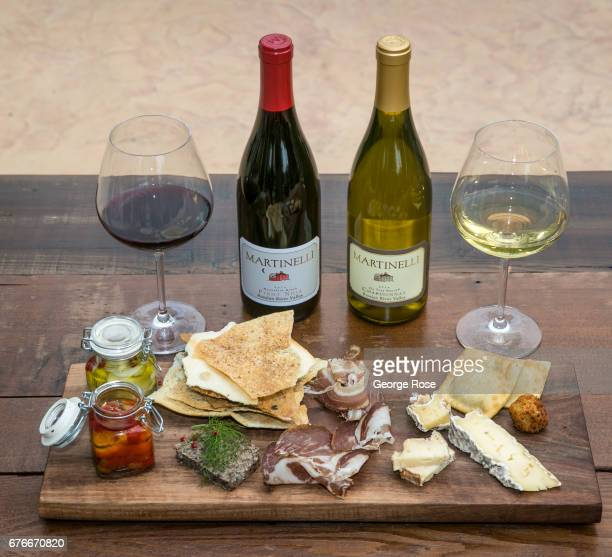 The cheese and wine pairing plate at Martinelli Winery's Tasting Room is viewed on April 27 near Windsor California After record winter rainfall...