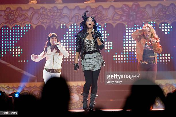 The Cheetah Girls perform on The One World Tour at US Bank Arena on November 23 2008 in Cincinnati