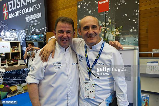 The chef Martin Berasategui and Paco Perez during the congress 'San Sebastian Gastronomika' in San Sebastian on 6 October 2015. San Sebastian...