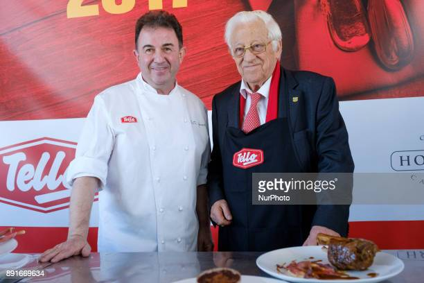 The chef Martín Berasategui and Padre Angel attend the presentation of the Christmas Eve menu that Messengers of Peace will offer 200 people without...