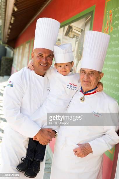 MONTd'OR FRANCE MARCH 28 The chef Paul Bocuse is photographed for Paris Match in his restaurant Le Pont de Collonge au Mont d'Or with his son Jerome...