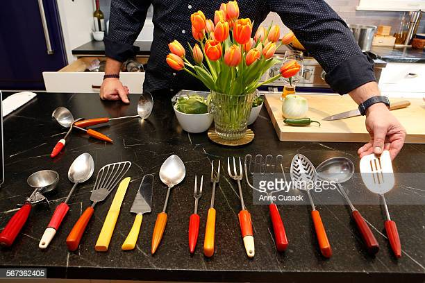 The chef shows his bakelite kitchen untensils he bought on Ebay in the kitchen of Chef Michael Cimarusti and his wife former pastry chef Crisi...