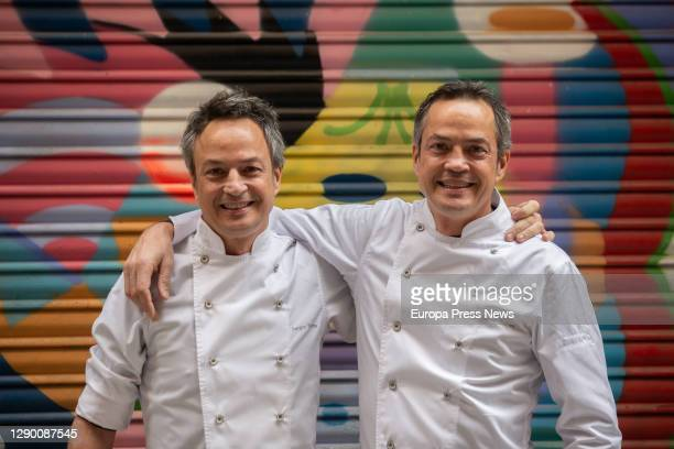The chefs of the Cocina Hermanos Torres restaurant, Javier and Sergio Torres, during the presentation of the Christmas menu of Vila Viniteca 2020 on...