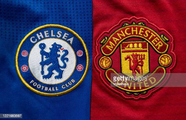 The Chelsea and Manchester United club crests on a first team home shirts on April 27 2020 in Manchester England
