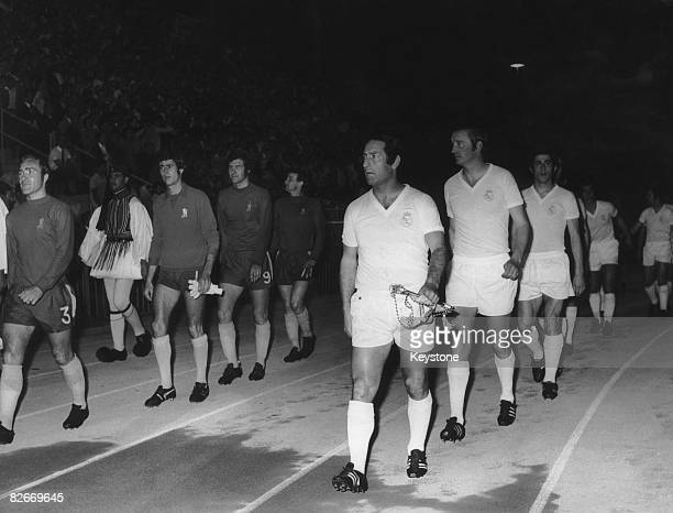 The Chelsea and Real Madrid teams enter the Karaiskakis Stadium Piraeus before the UEFA Cup Winners' Cup final 19th May 1971 Chelsea are led out by...