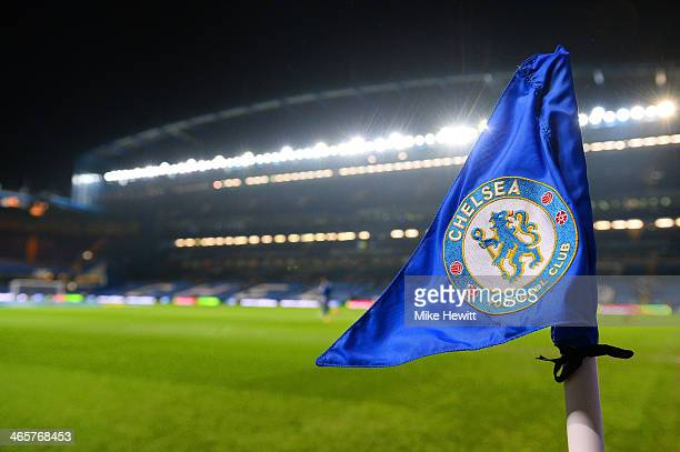 The Chelsea badge is seen on the corner flag ahead of the Barclays Premier League match between Chelsea and West Ham United at Stamford Bridge on...