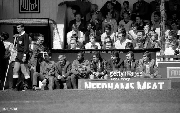 The Chelsea bench Norman Medhurst manager John Neal Paul Canoville Colin Lee Derek Johnstone Tony McAndrew and Joey Jones during the English Division...
