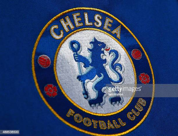 The Chelsea club crest is seen ahead of the UEFA Chanmpions League group G match between Chelsea and Maccabi TelAviv FC at Stamford Bridge on...