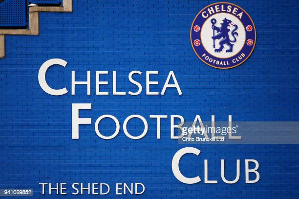The Chelsea club crest is seen during the Premier League match between Chelsea and Tottenham Hotspur at Stamford Bridge on April 1 2018 in London...