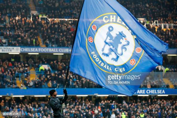 The Chelsea club flag is seen before kick off of the English Premier League football match between Chelsea and Leicester City at Stamford Bridge in...