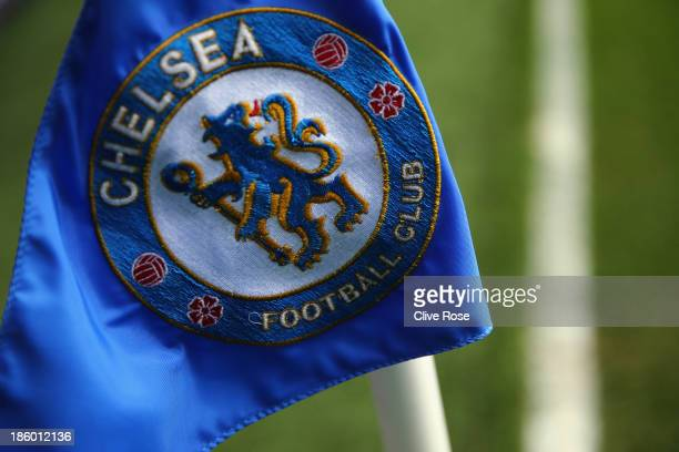 The Chelsea corner flag is seen ahead of the Barclays Premier League match between Chelsea and Manchester City at Stamford Bridge on October 27 2013...