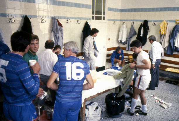 The Chelsea dressing room prior to the Canon League Division One match between Arsenal and Chelsea held on August 25, 1984 at Highbury, in London....