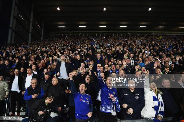 The Chelsea fans celebrate their side winning the league after the Premier League match between West Bromwich Albion and Chelsea at The Hawthorns on...