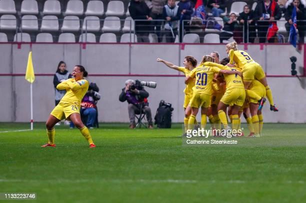 The Chelsea FC Women's team celebrates the victory of the UEFA Women's Champions League Quarter Final Second Leg match between Paris SaintGermain and...