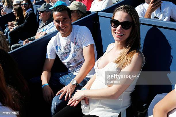 The Chelsea footballer Pedro Rodriguez anf his wife during que match NadalNishikori corresponding to the final of the Open Banc Sabadell 64 Trophy...