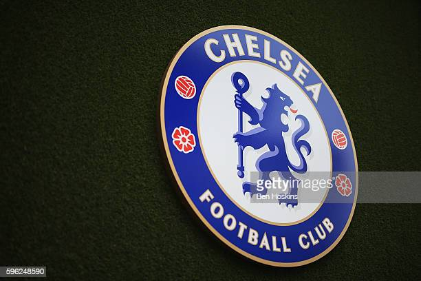 The Chelsea logo during the Premier League match between Chelsea and Burnley at Stamford Bridge on August 27 2016 in London England