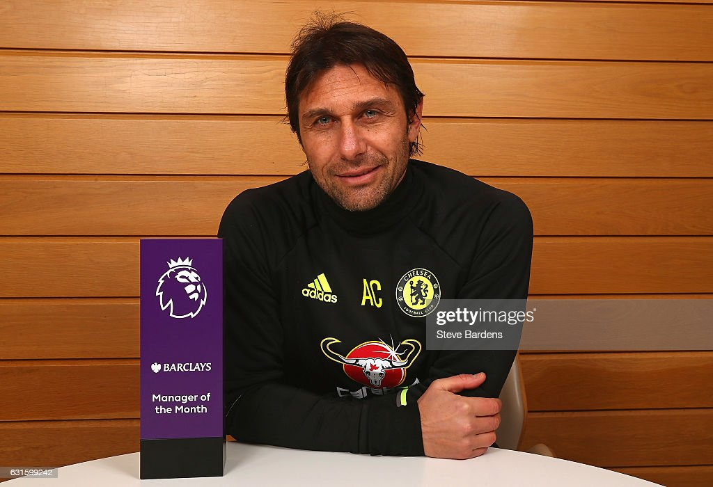 Premier League Manager of the Month Award is Presented to Antonio Conte : News Photo