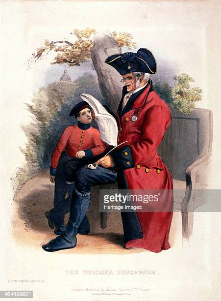 'The Chelsea Pensioner', Chelsea, London, c1840. A war veteran in the traditional red uniform of the Royal Hospital at Chelsea sits reading from a...