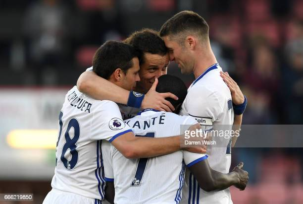The Chelsea players celebrate after the Premier League match between AFC Bournemouth and Chelsea at Vitality Stadium on April 8 2017 in Bournemouth...