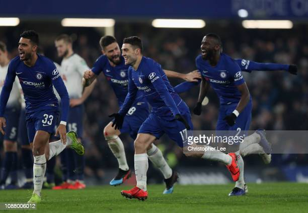 The Chelsea players celebrate after winning on penalties during the Carabao Cup SemiFinal Second Leg match between Chelsea and Tottenham Hotspur at...