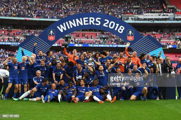 The Chelsea players celebrate with the Emirates FA Cup trophy following The Emirates FA Cup Final between Chelsea and Manchester United at Wembley...