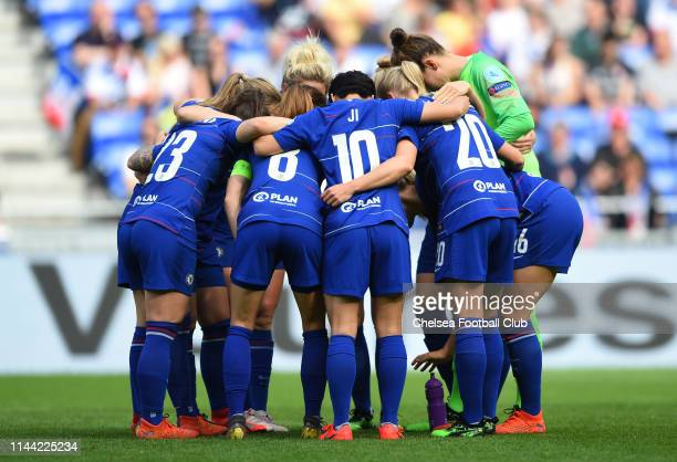 The Chelsea players form a team huddle prior to the Women UEFA Champions League semi final match between Olympique Lyonnais and Chelsea on April 21...
